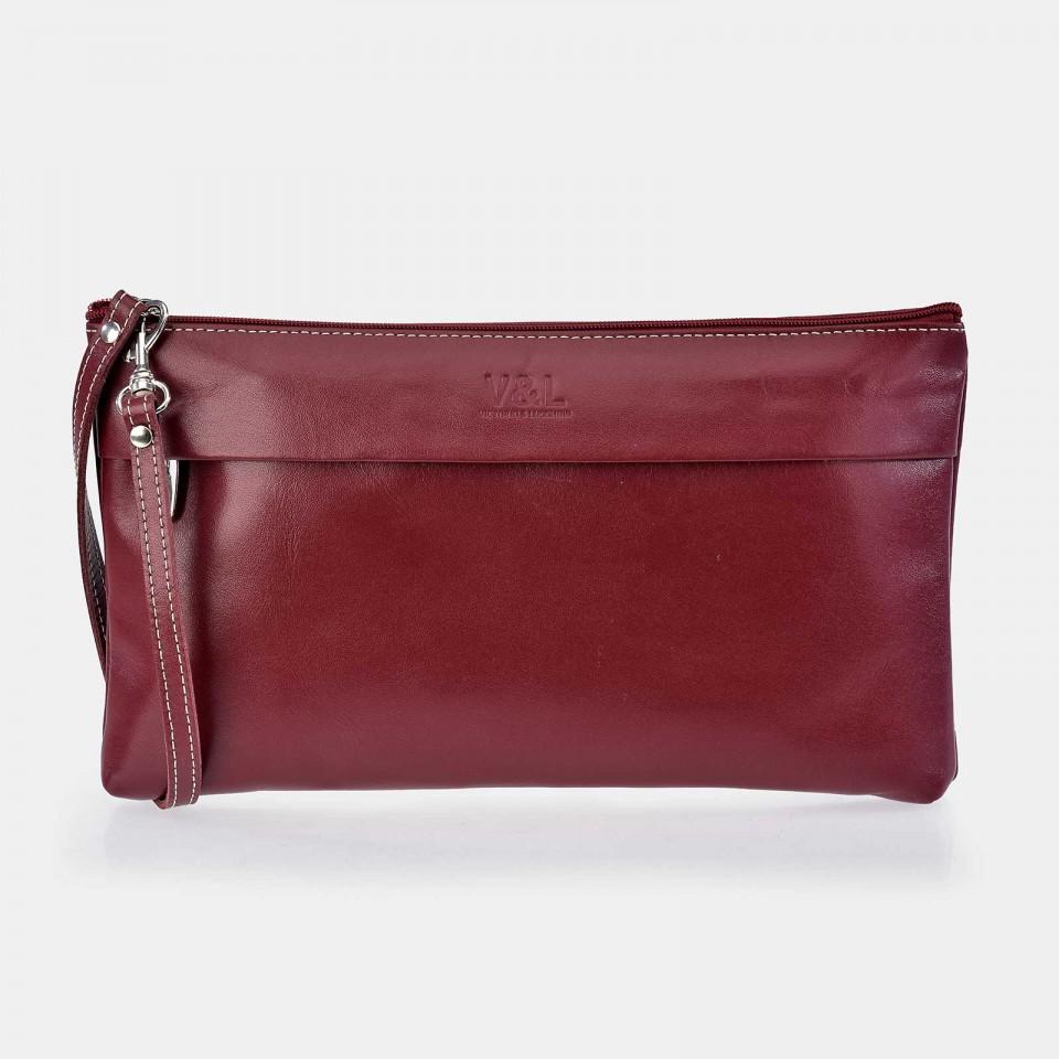 Bolso de mano pequeño con cremallera y asa de mano para mujer Piel Victorio & Lucchino