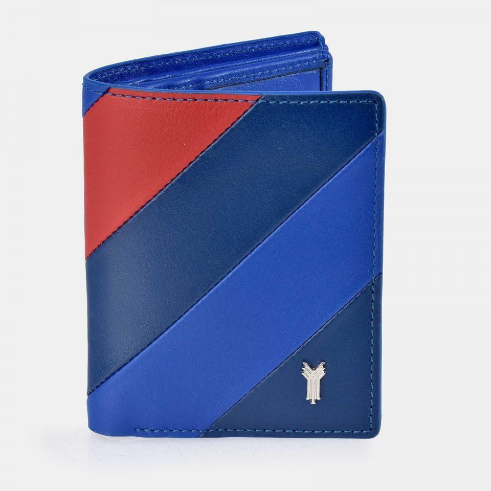 Cartera  compacta hombre YANKO Piel Gacela Tricolor Azul