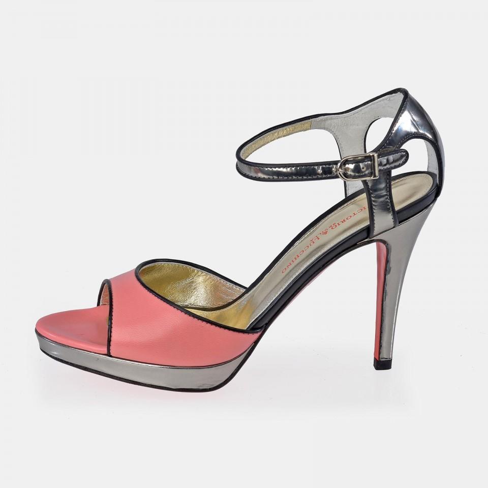 Zapato abierto en piel Napa de tacón para mujer Victorio & Lucchino