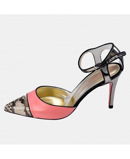Zapato abierto en piel Napa de tacón con hebilla para mujer Victorio & Lucchino