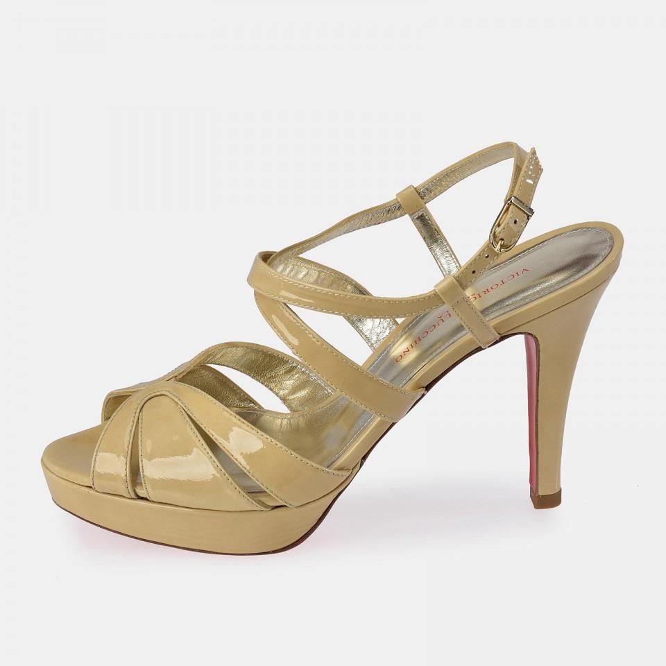Zapato abierto de tacón en piel charol para mujer Victorio & Lucchino