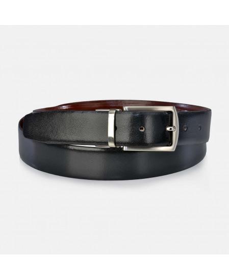 Cinturon Hombre reversible clasico piel negro y cuero YANKO