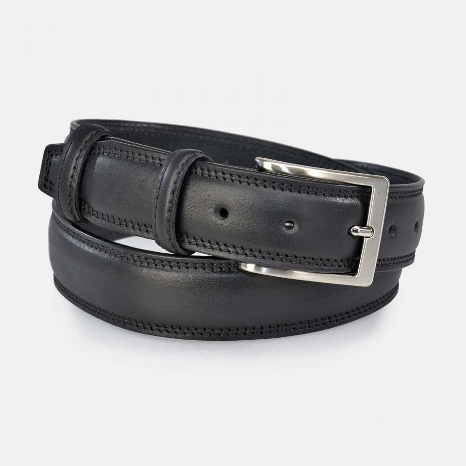 Cinturon Hombre casual cosido doble en piel negro YANKO