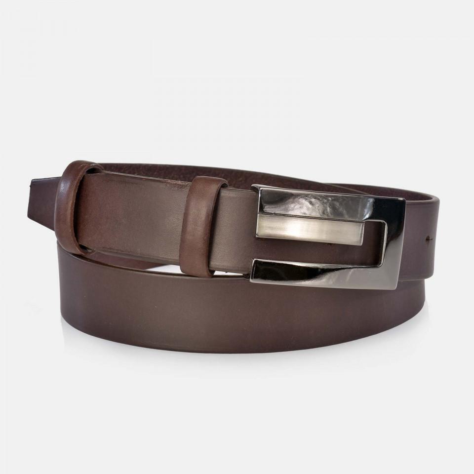 Cinturon Hombre hebilla plana en piel marrón YANKO