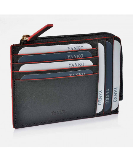 Tarjetero de Piel para Hombre con cremallera y monedero Colección Valentino YANKO