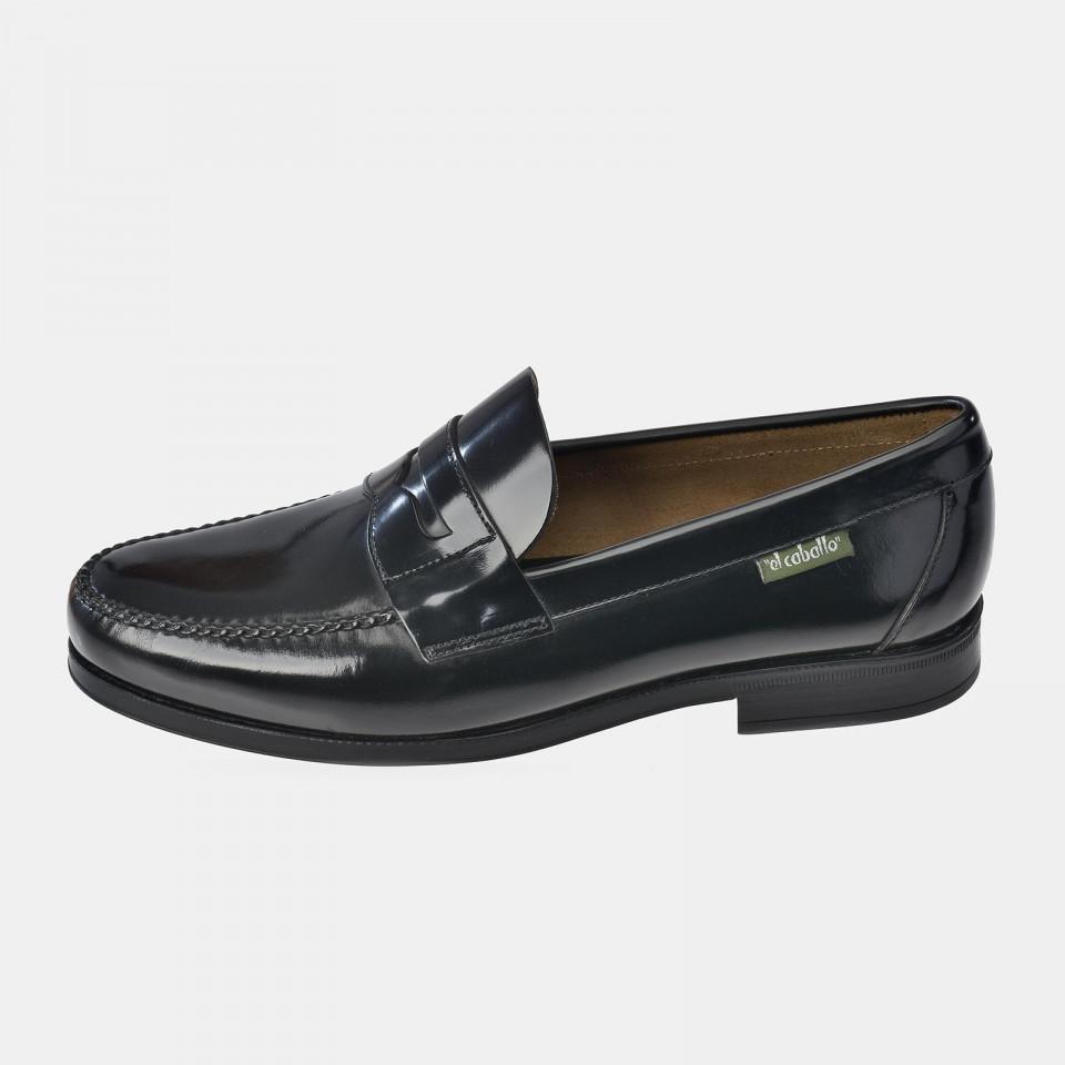 Zapato Castellano Hombre tipo Mocasín Negro Antifaz EL CABALLO