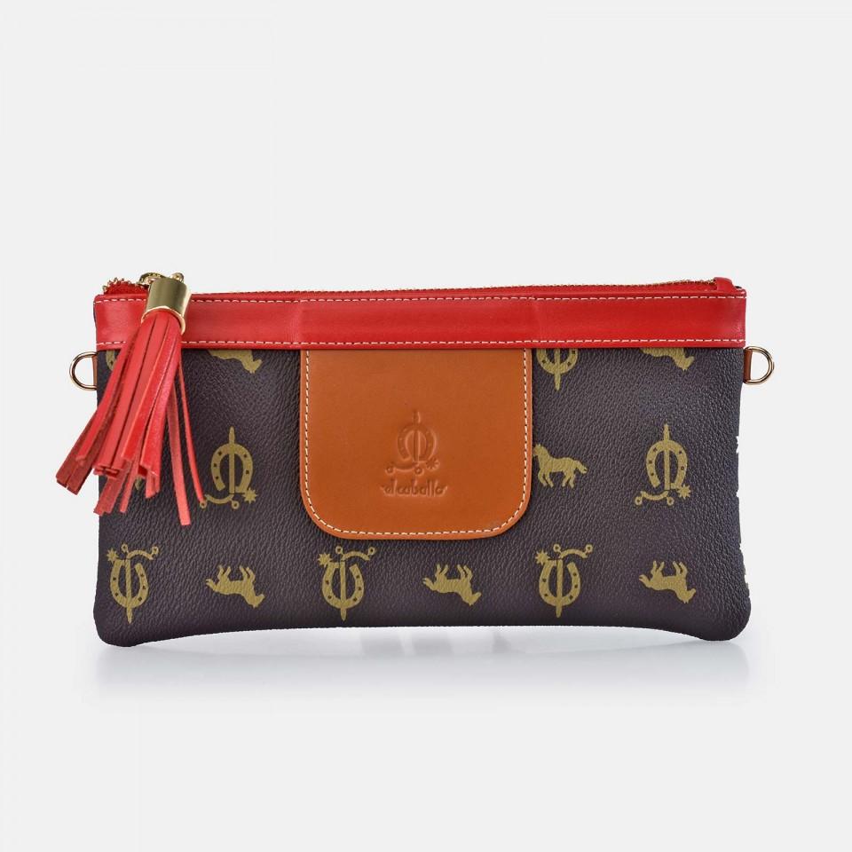 Bolso de mano pequeño con cadena para mujer Lona Piel EL CABALLO