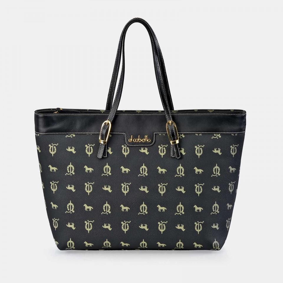 Bolso Shopping con hebillas para Mujer Piel Lona EL CABALLO