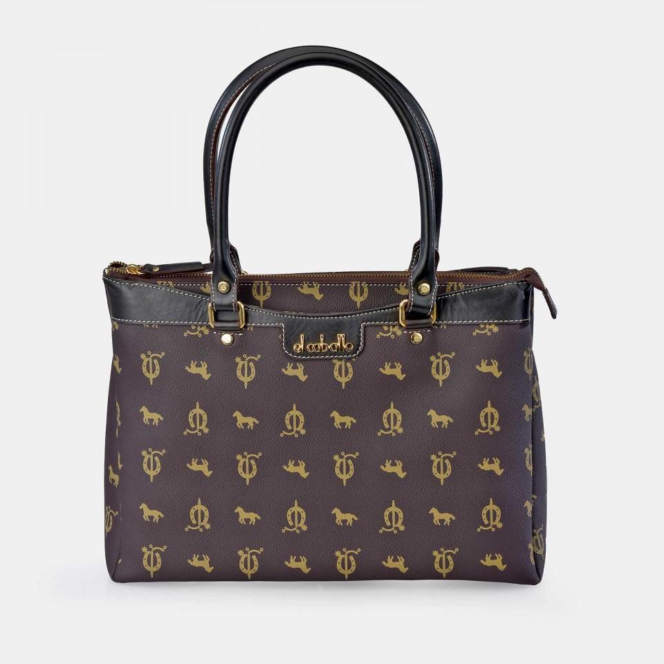 Bolso Shopping Mediano con hebillas para Mujer Piel Lona EL CABALLO